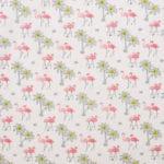 Popeline flamingo rose et palmier jaune 11