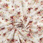coton fleuris vintage écru et terracotta